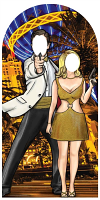 Black and Gold Secret Agent Skyline Stand-In - Cardboard Cutout