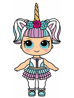 Cute Doll with Large Eyes and Unicorn Horn