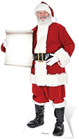 Santa with Small Sign - Cardboard Cutout