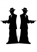Gangster silhouette (double pack) Black - Cardboard Cutout