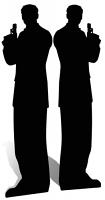 Secret Agent Double Male Silhouette Black - Cardboard Cutout