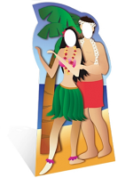 Hawaiian Couple Stand in Cardboard Cut Out