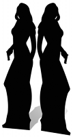Secret Agent Double Girl Silhouette Black - Cardboard Cutout