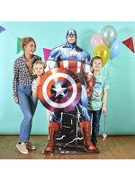 Lifesize Cardboard Cutout of Comic Style Captain America Avengers Marvel
