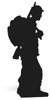 Soldier Silhouette Black 1918 Centenary - Cardboard Cutout