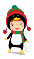 Mini Christmas Penguin - Cardboard Cutout