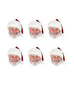 Father Christmas Masks Six Pack of Santa Clause Cardboard Masks