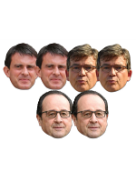 Amazing Six Pack of Masks Includes 2 x Manuel Valls 2 x Francois Hollande 2 x Arnaud Montebourg
