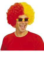 Two Tone Curly Wig - Red/Yellow