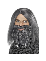 Terror Of The Sea Pirate Wig and Beard Set - Grey