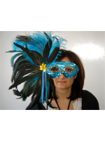 Turquoise Sequin Mask On A Stick With Feathers. (1)