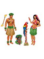 Hula Girl And Polynesian Guy Props (5 In A Pack)
