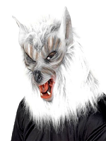 Wolf Mask Silver overhead mask with fur