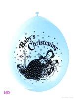 "Balloons 'BABY CHRISTENING' 9"" Latex Balloons Blue (10)"