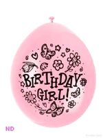 "Balloons 'BIRTHDAY GIRL' 9"" Latex Balloons Pink (10)"