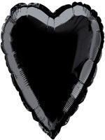 Foil Balloon Heart Solid Metallic Black