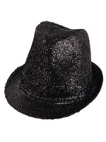 Black Lurex Gangster Hat