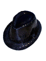 Sequin Gangster Hat - Black