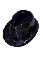 Sequin Gangster Hat - Black