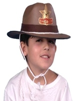 Cowboy Sheriff Hat Brown Eva - Child's With Cord (1)