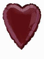 Foil Balloon Heart Solid Metallic Burgundy