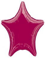 Foil Balloon Star Solid Metallic Burgundy
