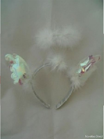 Headbopper White Furry With Iridescent Wings And Angel Halo