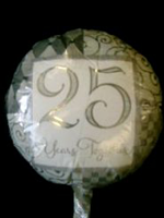 Foil Balloon '25 YEARS TOGETHER' Silver Anniversary