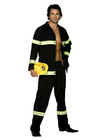 Fever Fireman Costume, Navy Blue And Yellow, Jacket And Trousers
