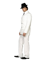 Fever Gangster Costume, White, Jacket, Trousers And Tie