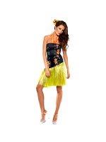 Ladies Fever Luscious Luau Costume Dress inc Lei Neck Piece