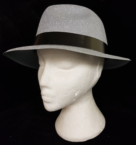 Silver Glitter Gangster Hat with Black Band