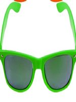 Green Neon Wayfarer Glasses with Mirrored Lense