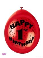 "'HAPPY 1st BIRTHDAY'  9"" Latex Balloons (10)"