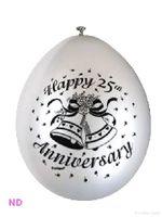 "Balloons 'HAPPY 25th ANNIVERSARY' Silver 9"" Latex (10)"