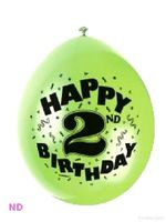 "Balloons 'HAPPY 2nd BIRTHDAY'  9"" Latex Balloons (10)"