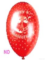 "Balloons 'HAPPY 40th ANNIVERSARY' Red 9"" Latex  (10)"