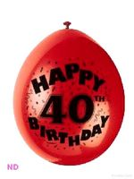 "'HAPPY 40th BIRTHDAY'  9"" Latex Balloons (10)"
