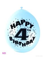 "Balloons 'HAPPY 4th BIRTHDAY' 9"" Latex Balloons (10)"