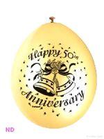 "'HAPPY 50th ANNIVERSARY' 9"" Latex Balloons Gold (10)"