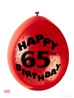 "Balloons 'HAPPY 65th BIRTHDAY' 9"" Latex Balloons (10)"