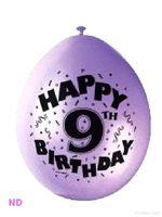 "Balloons 'HAPPY 9th BIRTHDAY' 9"" Latex Balloons (10)"
