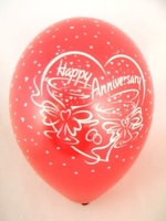 "Balloons 'HAPPY ANNIVERSARY' Red 12"" Bag Of 25"
