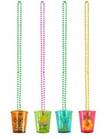 Shot Glass On Beaded Necklace with Hawaiian Print