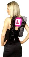 Hen Night L-Plate Wings Black Silver Pink With Pink Marabou