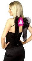 Hen Party Wings Black Silver Pink With Pink Marabou