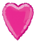 Foil Balloon Heart Solid Metallic Hot Pink