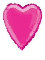 Foil Balloon Heart Solid Metallic Hot Pink