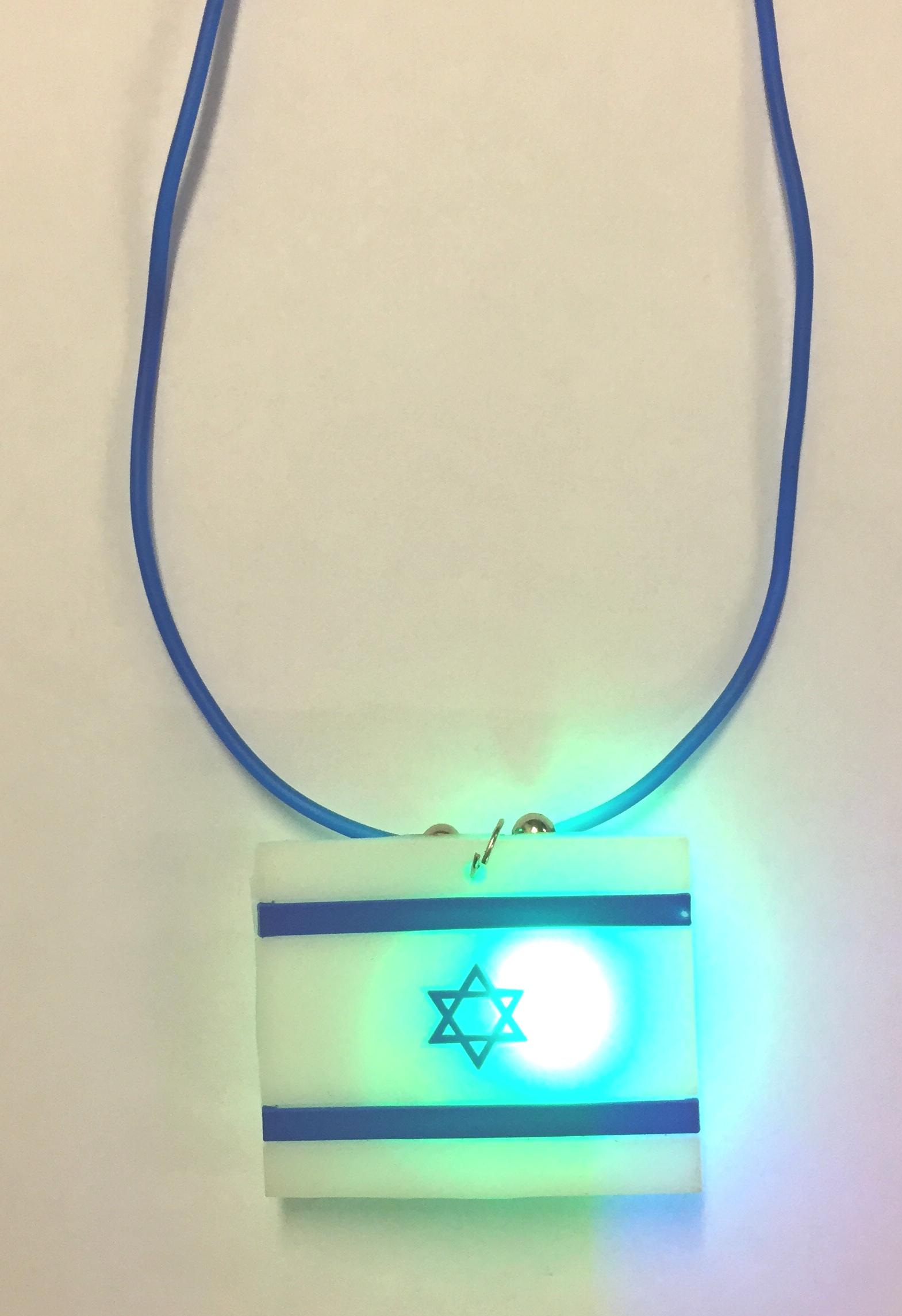 Israel Flag Flashing Necklace