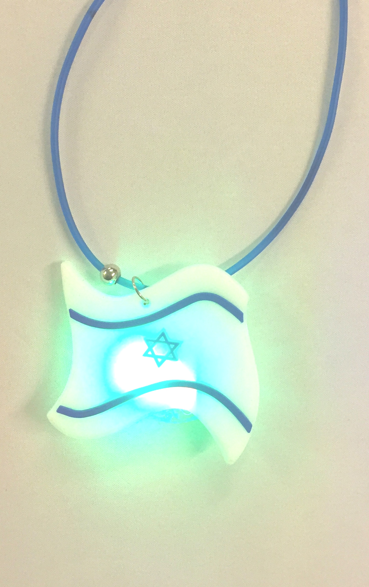 Israel Flag Wavy Flashing Necklace